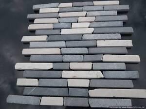 Détails sur Brickbone MARBRE mosaïque MUR CARRELAGE GRIS CLAIR & BLANC  (échantillon) Douche Cuisine- afficher le titre d\'origine