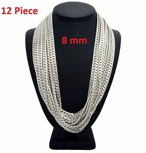 """8mm 12 Piece Concave Cuban link Chain 24/"""" inch 14k White Gold Plated Necklace"""