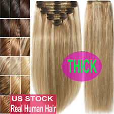 Thick Double Weft Clip In Real Remy Human Hair Extensions Full Head highlight US