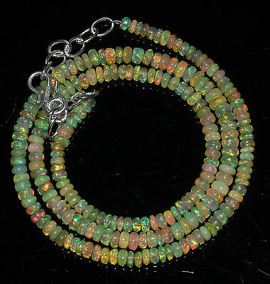 "51 Crts 1 Strands 3 to 5 mm 18"" Beads necklace Ethiopian Welo fire Opal 2035"