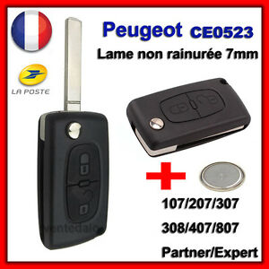 coque plip t l commande cl peugeot 106 107 206 207 407 2 bouton ce0523 pile ebay. Black Bedroom Furniture Sets. Home Design Ideas