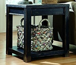 Image Is Loading Timber End Table Black Reclaimed Distressed Wood Rustic
