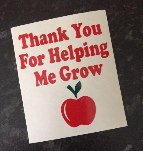 Teacher merci de m/'avoir aidé à grandir Glitter Autocollant Vinyle Autocollant Pour Tasse Cadeau Verre
