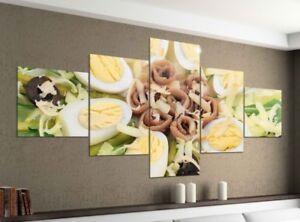 Foto-en-Lienzo-5-piezas-200x100cm-Huevos-EI-VERDURAS-Essen-Cocina-Imagenes