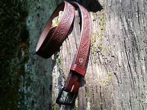 HANDCRAFTED VINTAGE SEQUOIA CONE NATIONAL PARKS Bridle leather Belts ONE OF A KI