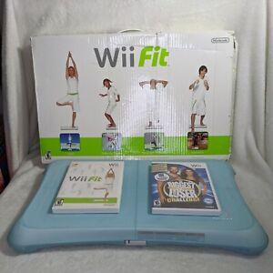 Nintendo Balance Board Wii Bundle w/ 2 Games, Blue Silicon Skin/Cover, Box