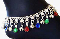 India Boho Bell Hippie Silver Drop Anklet Belly Dance Jingle Lapis Beads
