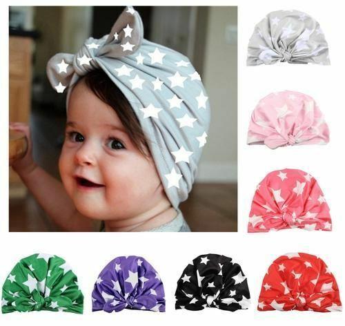7 Pack Star Toddler Kids Children Newborn Baby Girl Hospital Turban Hat Cap