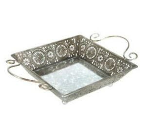 Image Is Loading Silver Mirrored Metal Serving Tray Large Ottoman
