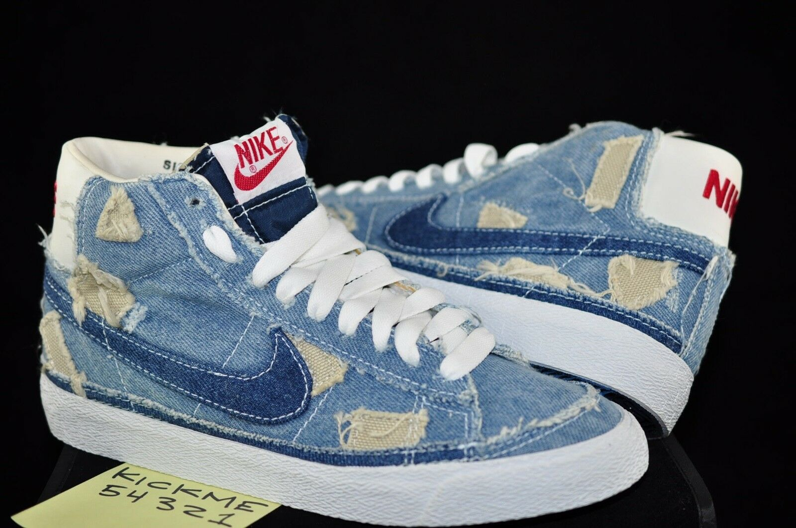 2003 NIKE WOMENS BLAZER MID TWO TONE DENIM PATCH WORK 7 SUPREME OFF WHITE DS