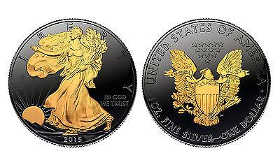 Black RUTHENIUM 1 oz Silver 2015 American Eagle U.S. Coin with 24K Golden Enigma