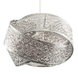 Colgante-de-Techo-entrelazadas-anillos-de-cromo-cepillado-Sombra-LED-luz-bombilla-facil-ajuste
