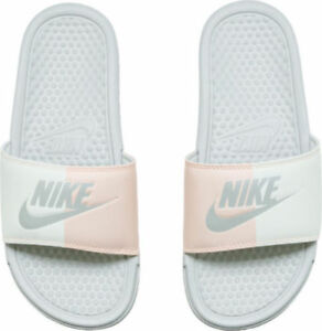 c59002878e5b7e Women Nike Benassi JDI Just Do It Slides White Sail Bone Pink 343881 ...