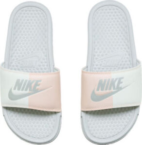 404dbfb02786 Women Nike Benassi JDI Just Do It Slides White Sail Bone Pink 343881 ...