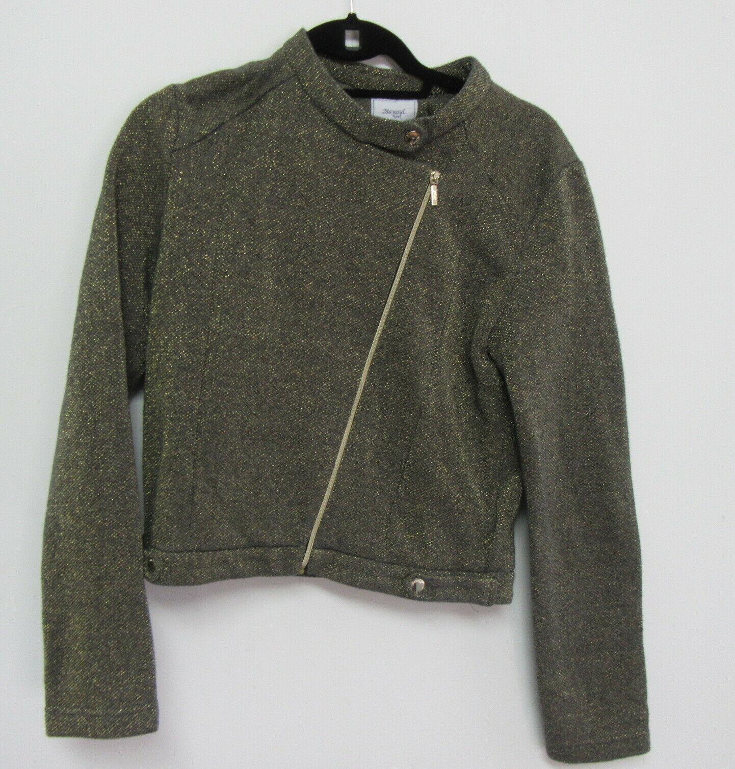 mayoral Jr. girls grey and gold tweed moto zip up jacket size 18 years