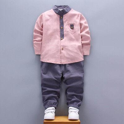 2PCS Toddler Baby Kids Boys Shirt Tops+Long Pants Clothes Gentleman Outfits Set