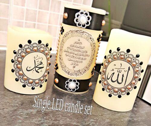 3in1 caligrafía árabe islámico singleled Vela Para La Decoración Del Hogar /& Regalo Con Control Remoto