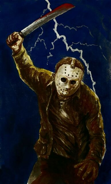 Movie Art to Support Swan Dive - Jason Voorheees. Watercolour