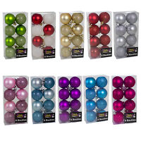 Christmas Tree Decoration 8 Pack 50mm Glitter / Plain Baubles - Choose Colour