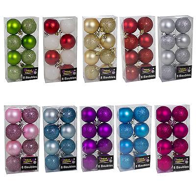 Décoration de noël 8 pack 50mm paillettes//plain boules-violet