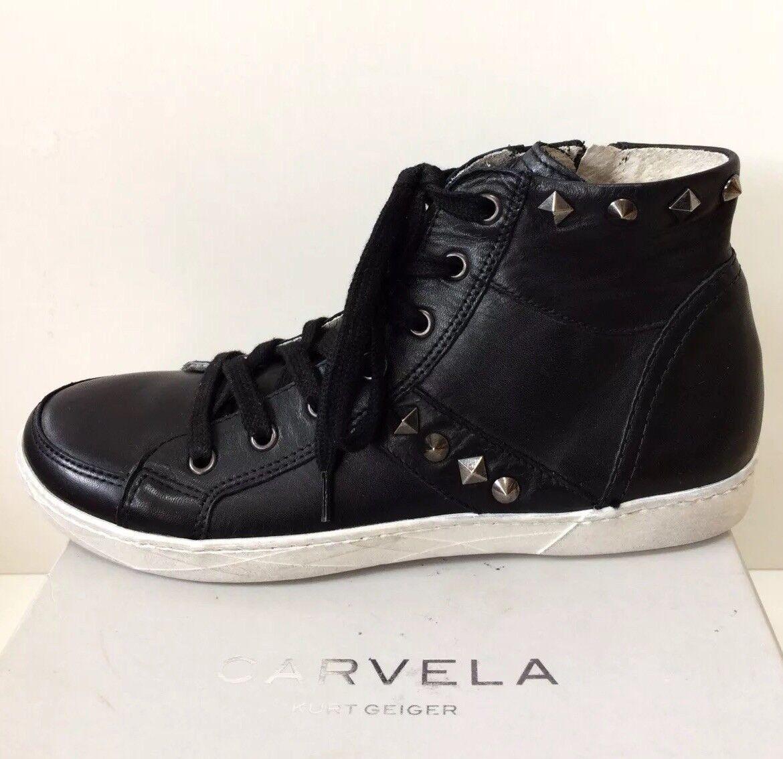 Carvela Kurt Geiger Cuero Negro Tachonado Con Cordones Botines Zapatillas 4 37