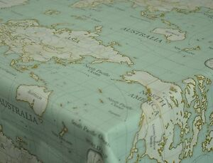 Fryetts world map duckegg cotton pvc fabric wipe clean tablecloth image is loading fryetts world map duckegg cotton pvc fabric wipe gumiabroncs Image collections