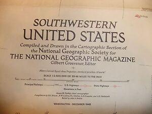 MAP SOUTHWESTERN UNITED STATES National Geographic 1948 | eBay