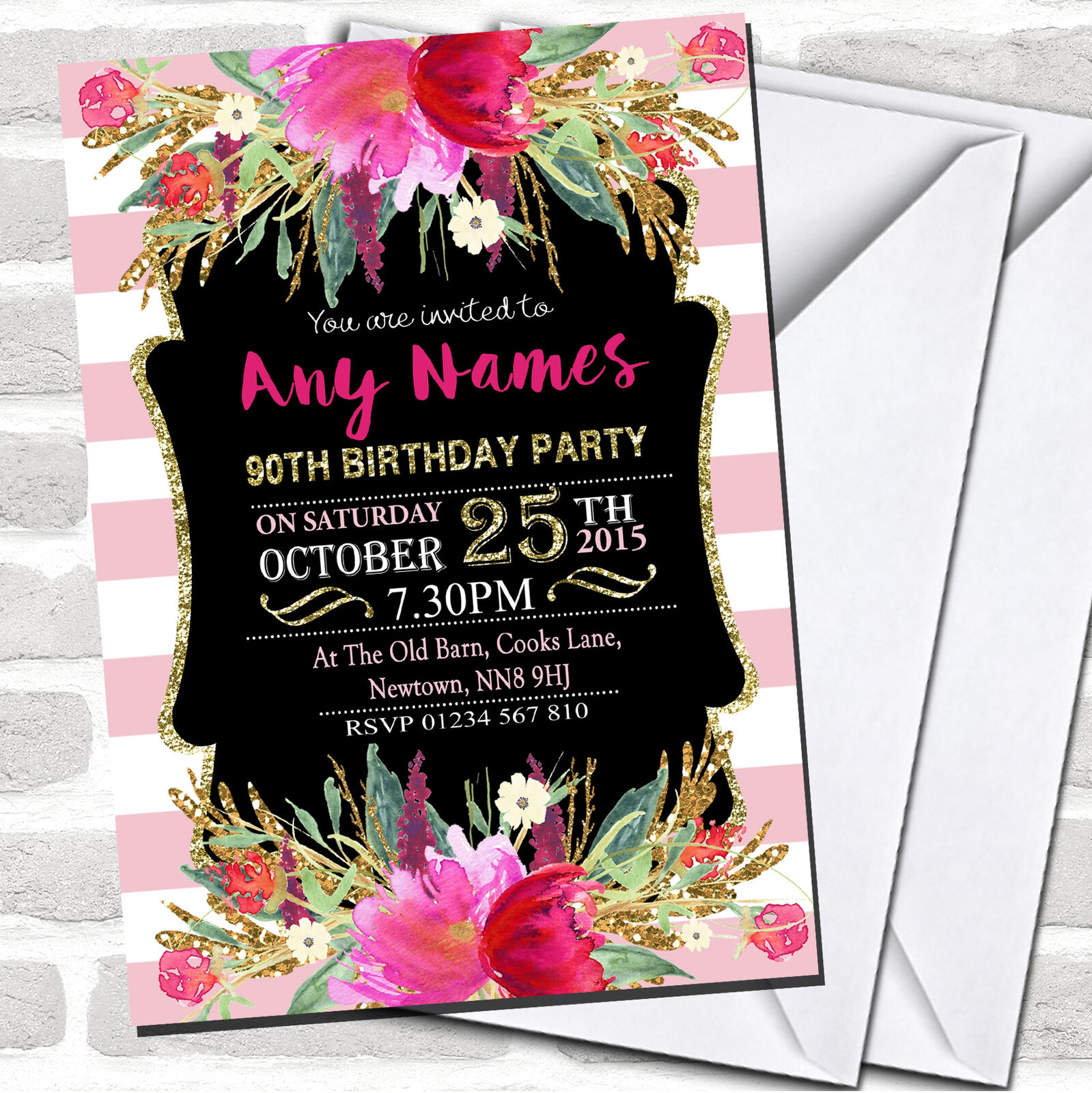 Rosa & Weiß Striped Floral 90th Birthday Party Party Party Invitations e80d87