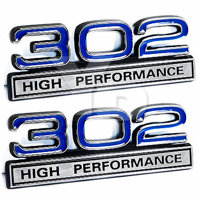 "302 5.0L Engine High Performance Engine Emblems in Blue & Chrome - 4"" Long Pair"