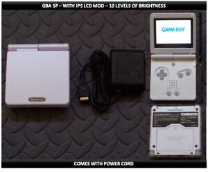 Nintendo Game Boy Advance GBA SP IPS MOD System 10 Level Brightness - White