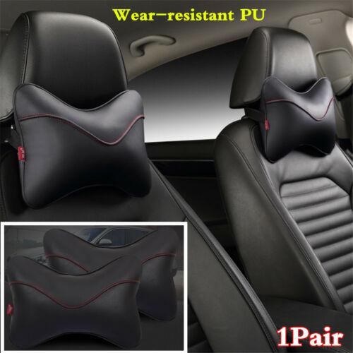 2x Car Seat Headrest Pad Pillow Wear-resistant PU Head Neck Rest Support Cushion