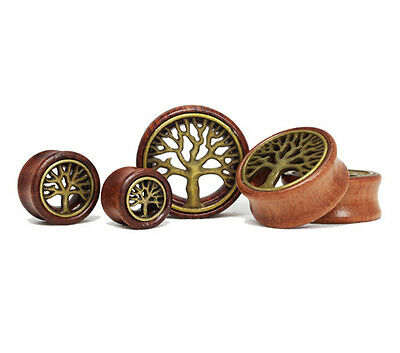 Wooden Tree of Life Pagan Flared Ear Plug Tunnel Stretcher