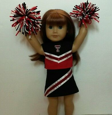 """Doll Clothes fits 18/"""" American Girl Dolls Nebraska Huskers Cheerleader Outfit"""