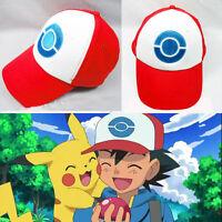 Us Anime Cosplay Pokemon Pocket Monster Ash Ketchum Baseball Mesh Hat Cap Red