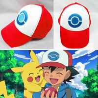 Us Anime Cosplay Pokemon Pocket Monster Ash Ketchum Baseball Mesh Hat Cap Red