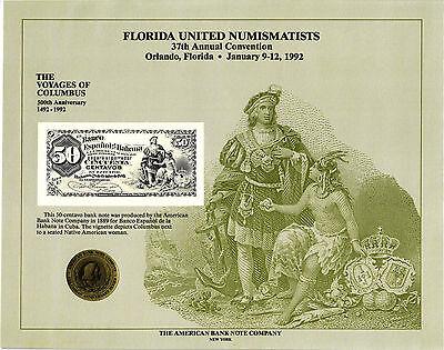Florida  SO22 Johns Bank of St 1982 ABNCo $10.00 Souvenir Card Jacksonville