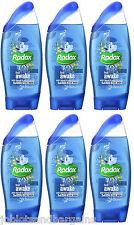 6 x 250ml Radox 2in1 Feel Awake With Fennel & Sea Minerals Shower Gel & Shampoo