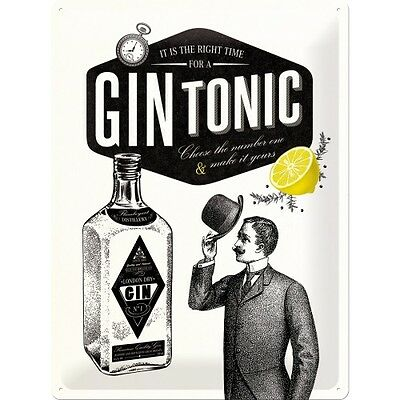 Gin Tonic Cocktail Bar Pub Drink Retro Shabby Chic Large 3D Metal Embossed Sign