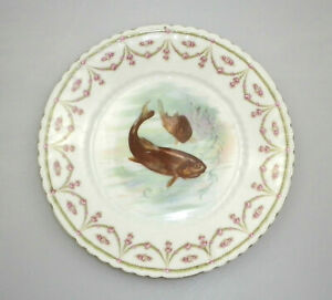 Antique Bavarian Decorative Fish Plate Hand Painted