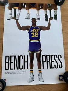 Excellent 1980s NBA Utah Sneakers Converse about Vintage Karl Jazz Details Malone Poster WHEID29