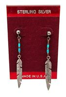 Native American Sterling Silver Turquoise Beaded Feather Dangle Earrings