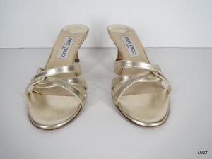 Jimmy Choo Sandals Heels Kitten Slide $595 Sz 7 37 Leather Gold Metallic Strappy by Jimmy Choo