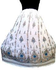 White Bohemian Hippy Bollywood Indian Long Dance Skirt Vintage Tribal Peasant