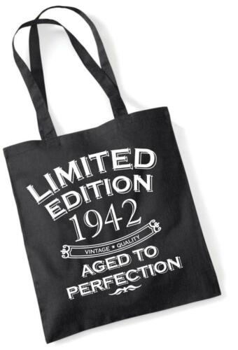 77th Birthday Gift Bag Tote Shopping Limited Edition 1942 Aged To Perfection Mam