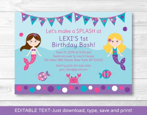 Mermaid Printable Birthday Invitation Editable PDF