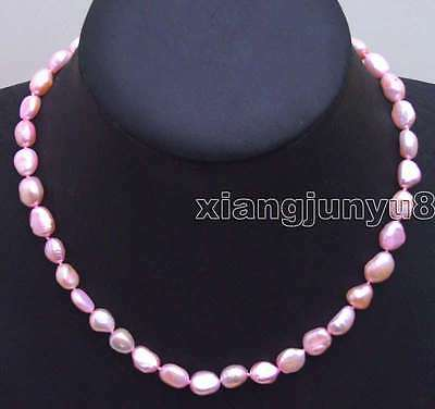 "17/"" 8-9mm natural hot pink baroque freshwater pearl necklace"
