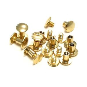 "Craft 3//8/"" 9.5mm Chicago Screw /& Post w// Solid Head Metal 5 Sets Solid Brass"