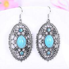 Fashion Hollow Flowers Turquoise oval Pendant Tibet silver Hook dangle Earrings