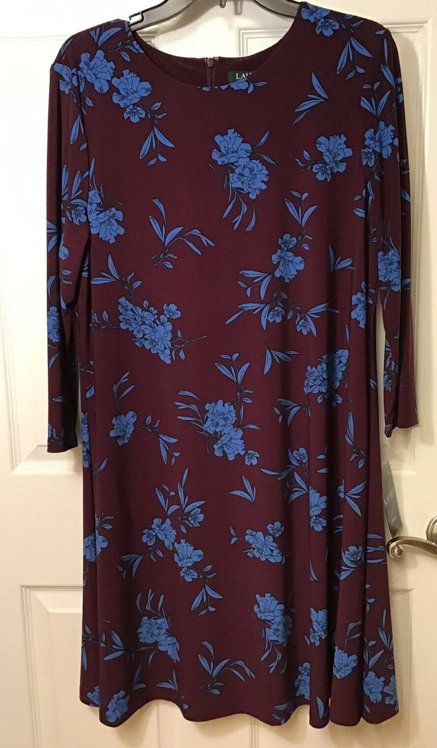 Lauren Ralph Lauren Maroon Blau Floral A-Line Shift Dress Größe 16, 3 4 Sleeves