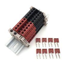 Assembly Kit DK4N Red/Black 10 Gang with Jumpers DIN Rail Dinkle 10AWG 30A 600V